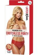 Premium Latex Crotchless Panty-red-s/m